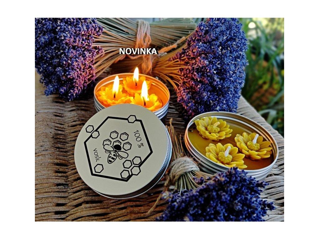 svíčka včelí vosk v plechové krabičce