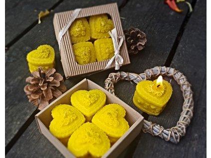 svíčky z včelího vosku dárkové srdce