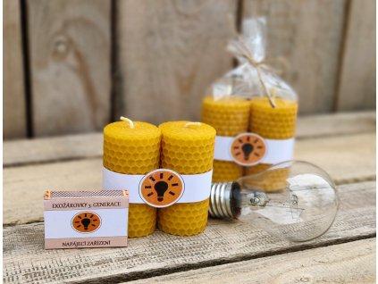 svíčky z včelího vosku žárovky2