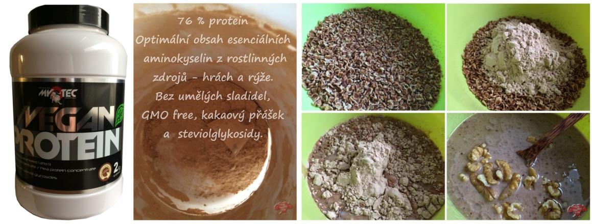 Vegan protein MyoTec 76 % protein Optimální obsah esenciálních  aminokyselin z rostlinných  zdrojů - hrách a rýže.  Bez umělých sladidel,  GMO free, kakaový přášek  a  steviolglykosidy.