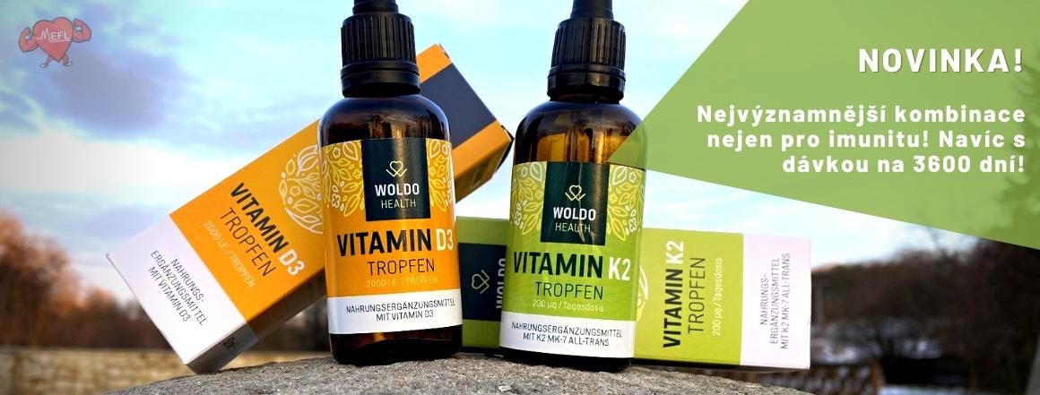 Vitamín D3 a K2 v kapkách od Woldo