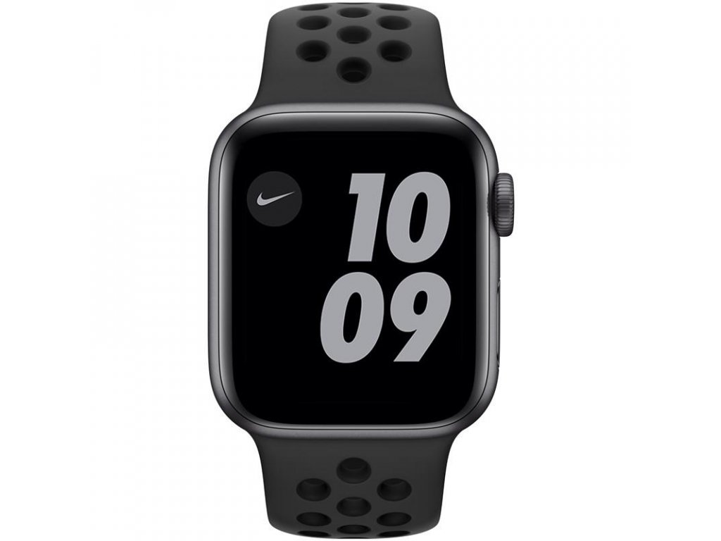Chytré hodinky Apple Watch Nike Series 6 GPS 44mm pouzdro z vesmírně šedého hliníku - antarcitově/černý sportovní řemínek Nike (MG173HC/A)