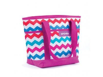 Spokey ACAPULCO Termo taška malá, fialová zigzag, 39 x 15 x 27 cm