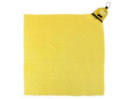 Spokey NEMO Rychleschnoucí ručník 40x40 cm, žluto-zelený s karabinou