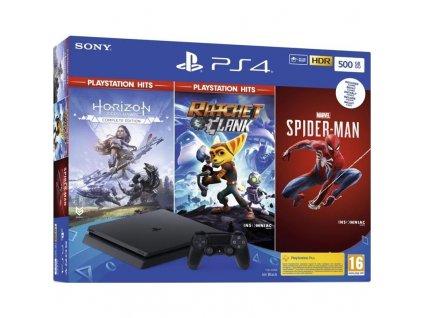 Herní konzole Sony PlayStation 4 500 GB + Spiderman + Horizon Zero Dawn + Ratchet & Clank) (PS719391708)