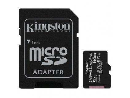 Paměťová karta Kingston Canvas Select Plus MicroSDXC 64GB UHS-I U1 (100R/10W) + adapter (SDCS2/64GB)