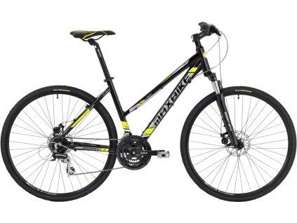 Maxbike Aven lady 2019 lesklý černý + žlutá  Pro registrované možnost akce až 15% sleva