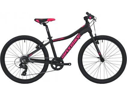 Maxbike Denali 24 2020 černý matný + růžová - šedá  Naše služby je možné platit systémem Sodexo, Up, Benefit a Benefit Plus