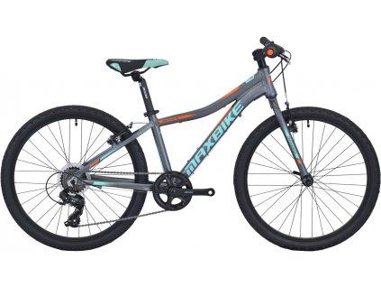 Maxbike Denali 24 2020 šedý matný + tyrkys + oranžový  Pro registrované zákazníky zajímavé bonusy, akce a to i na jiné značky naší nabídky modelů 2020