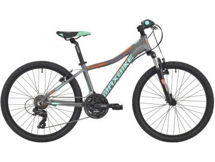 Maxbike Pindos 24 2020 šedý matný + tyrkys - oranžová  Pro registrované slevy až 15% a další výhody