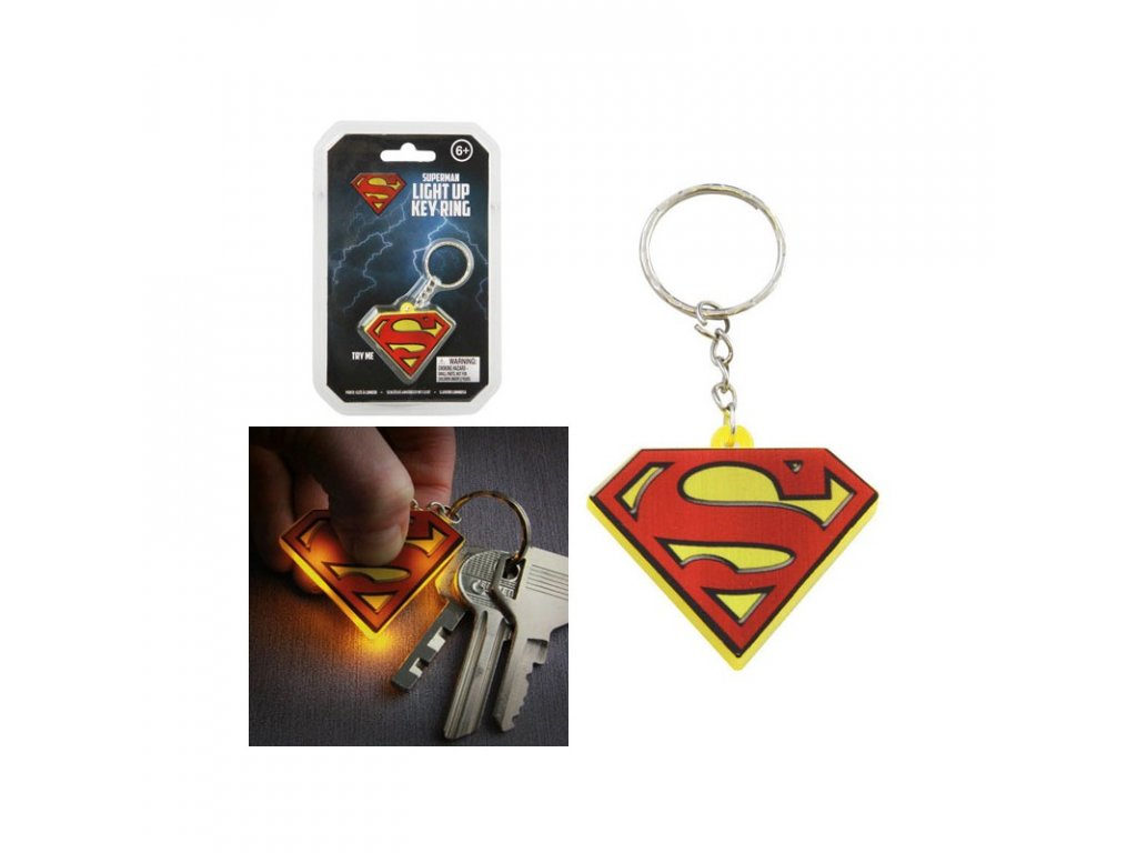dc comics key chain with light superman x1