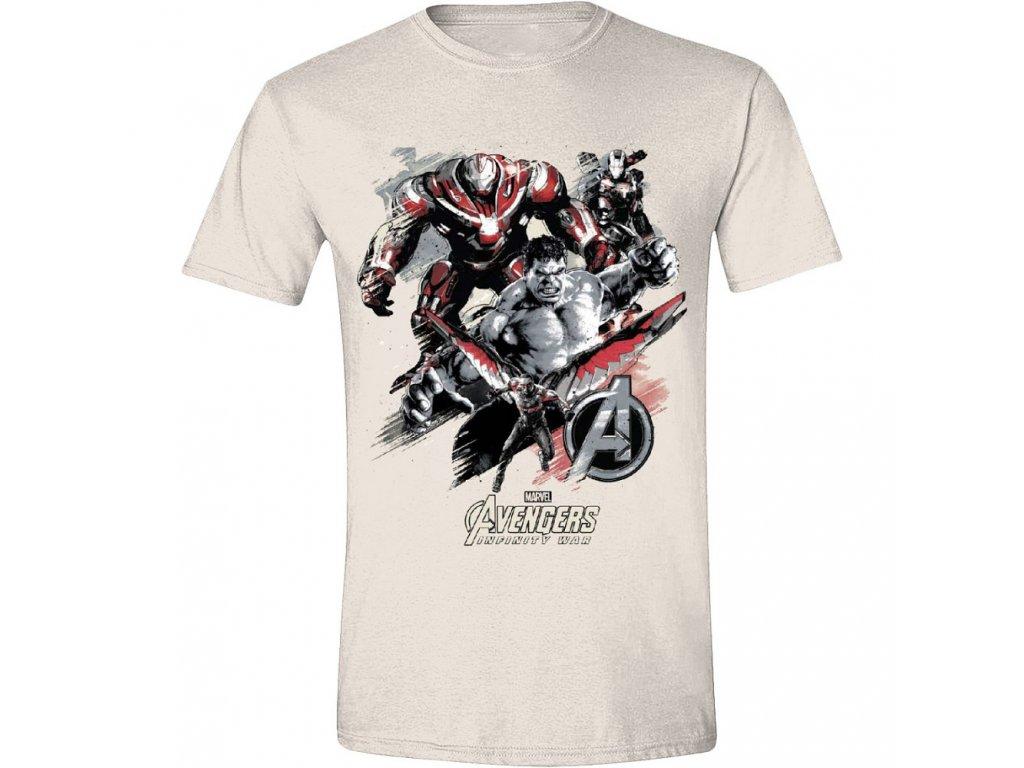 Avengers: Infinity War - Characters Attack Men T-Shirt - Beige - XL