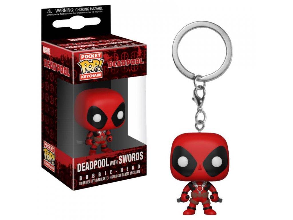 Deadpool Playtime Pocket POP! Vinyl klíčenka Deadpool with Swords 4 cm
