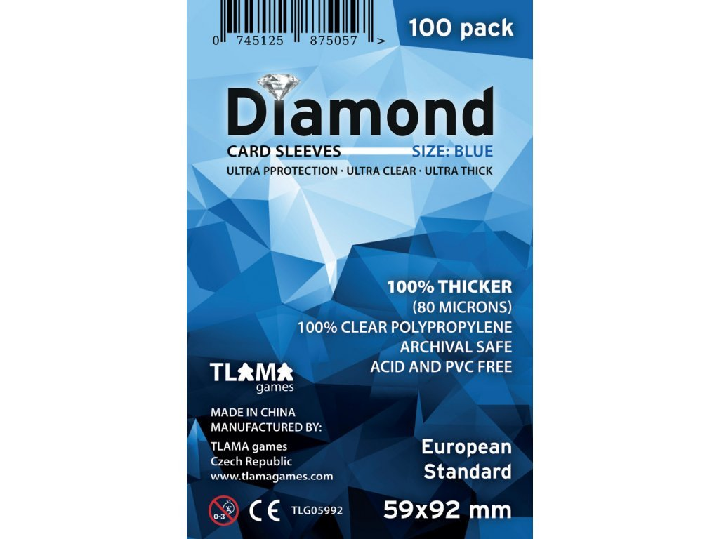 Obaly na karty Diamond Blue: European Standard (59x92 mm) (80 mikronů, 100 ks)