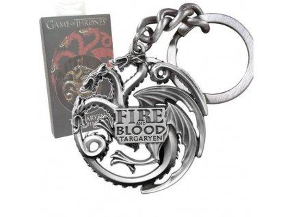 Game of Thrones Metal Keychain Targaryen Sigil Gunmetal