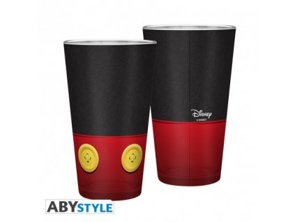 disney large glass 400ml mickey matte x2