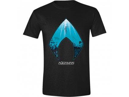 Pánské tričko Aquaman - Ocean Logo - černé (Velikost XL)