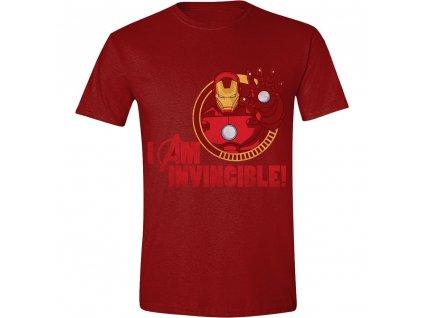 Pánské tričko Avengers - Iron-Man I Am Invincible - červené (Velikost XXL)
