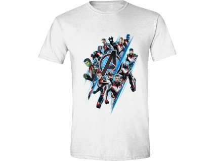 Pánské tričko Avengers: Endgame - Diagonal Logo & Characters - bílé (Velikost XXL)