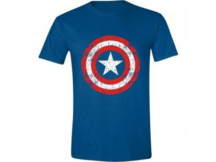 Pánské tričko Captain America - Cracked Shield - Cobalt (Velikost XXL)