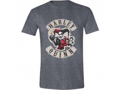 Pánské tričko DC Comics - Harley Quinn Bomb Patch - tmavé  (Velikost XXL)