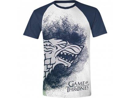 Pánské tričko Hra o Trůny - Painted Stark Raglan - bílé (Velikost XL)