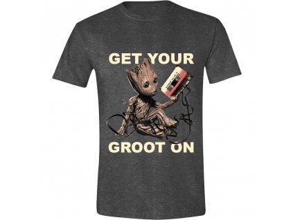 Tričko Strážci Galaxie - Get Your Groot On - tmavé  (Velikost XXL)