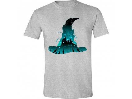 Pánské tričko Harry Potterorting Hat Silhouette -  šedé (Velikost XL)