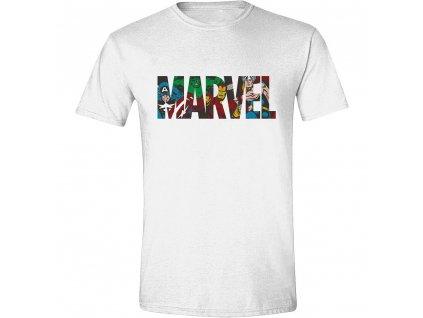 Pánské tričko Marvel - Characters in Logo - bílé (Velikost XXL)