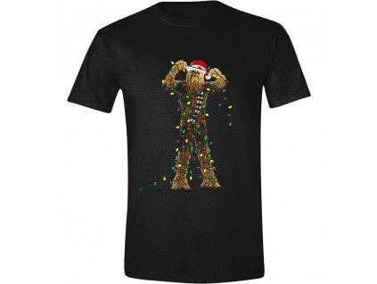 Pánské tričko Star Wars - Chewbacca Christmas Lights - černé (Velikost XL)