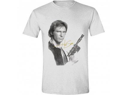 Pánské tričko Star Wars - Han Solo portrét - bílé (Velikost XL)