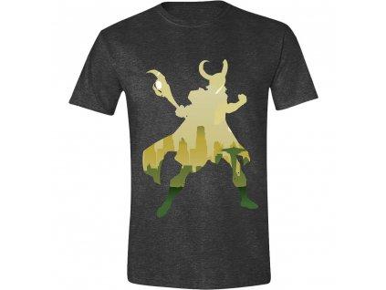 Pánské tričko Loki - Silueta - šedé (Velikost XXL)