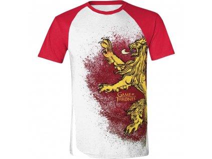 Pánské tričko Game of Thrones - Lannister raglán - bílé (Velikost XXL)