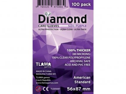 Obaly na karty Diamond Purple: American Standard (56x87 mm) (80 mikronů, 100 ks)