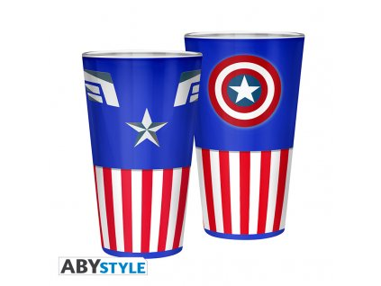 MARVEL - Verre XXL - 400 ml - Captain America - boîte x2