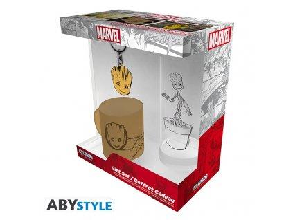 MARVEL Groot Dárková sada: sklenička + klíčenka + mini hrnek [POŠKOZENÝ OBAL NA ZBOŽÍ]