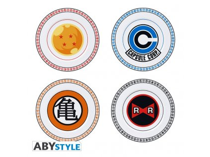 dragon ball set of 4 plates emblems