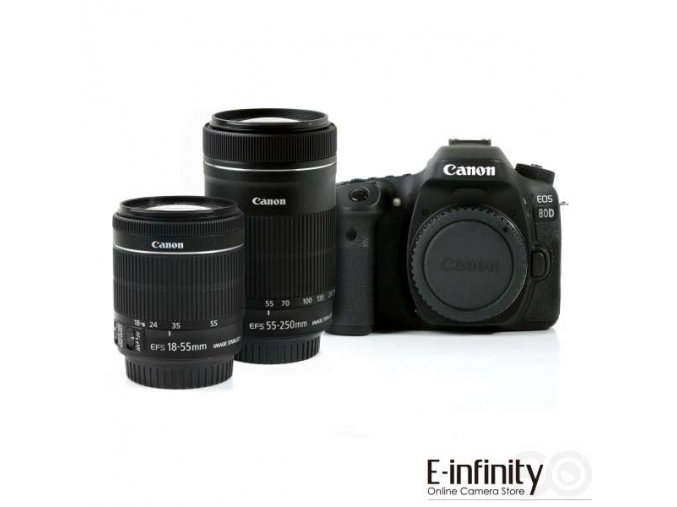 Canon EOS 80D + 18-55 IS STM + 55-250 IS STM  + VIP SERVIS 3 ROKY + 64GB SD karta zadarmo + puzdro zadarmo