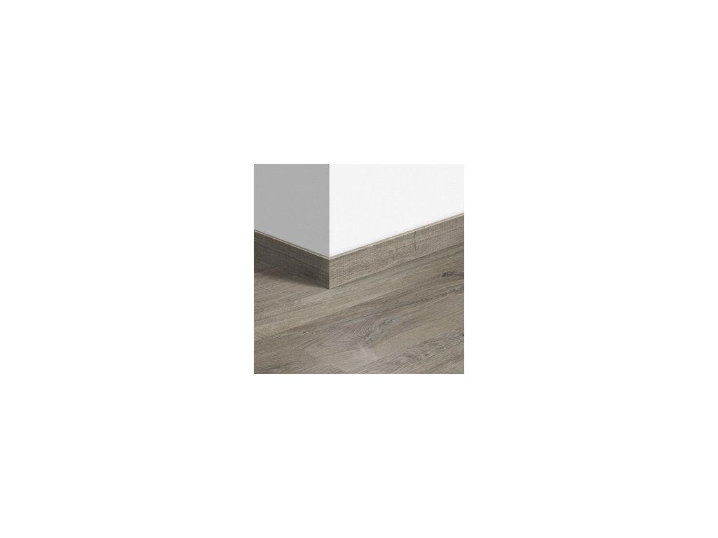 Soklová lišta Dub bavlna šedý s řezy pilou