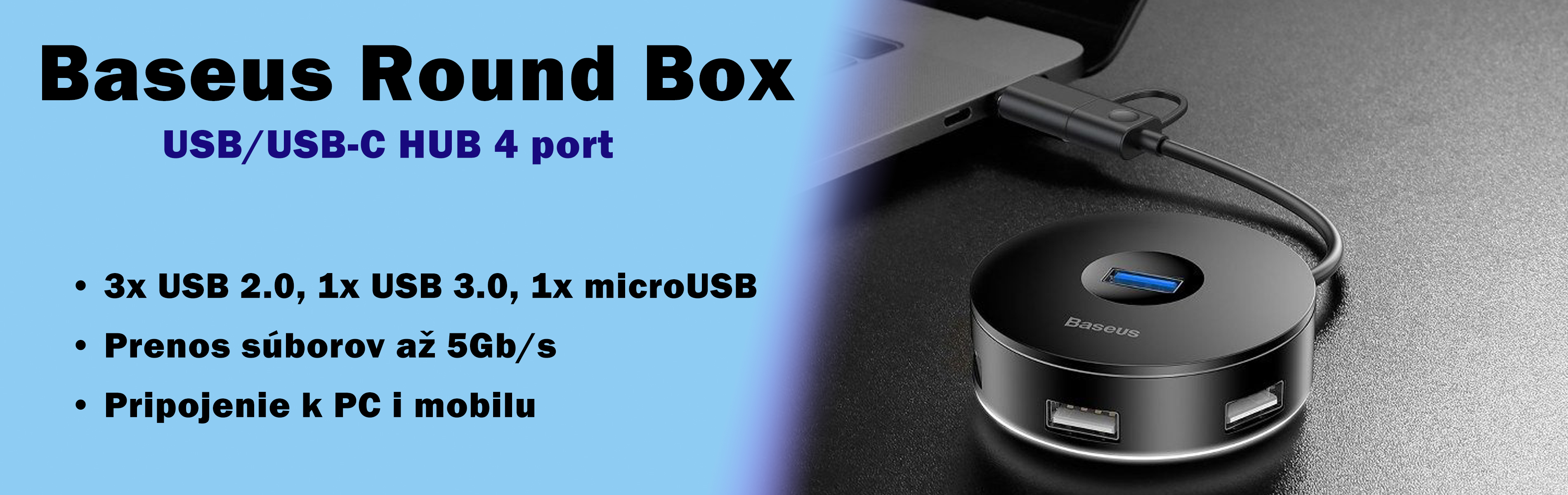 Adapter 4x USB Round Box - Baseus