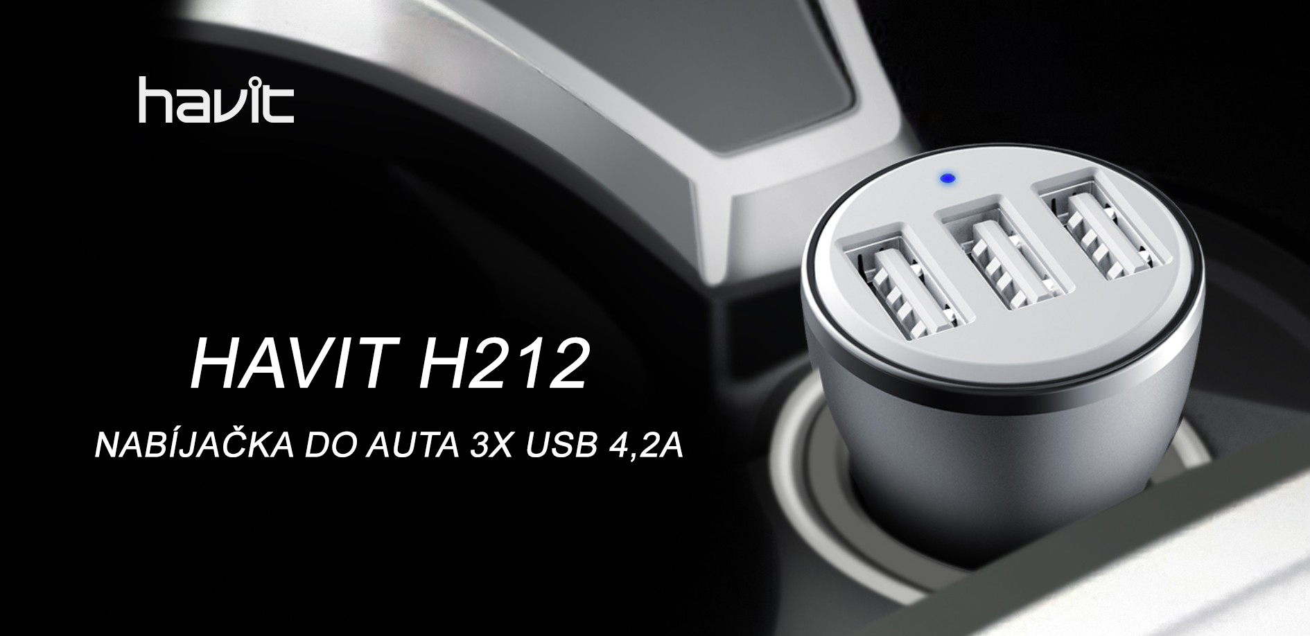 Havit H212 Nabíjačka do auta 3x USB 4,2A (3)