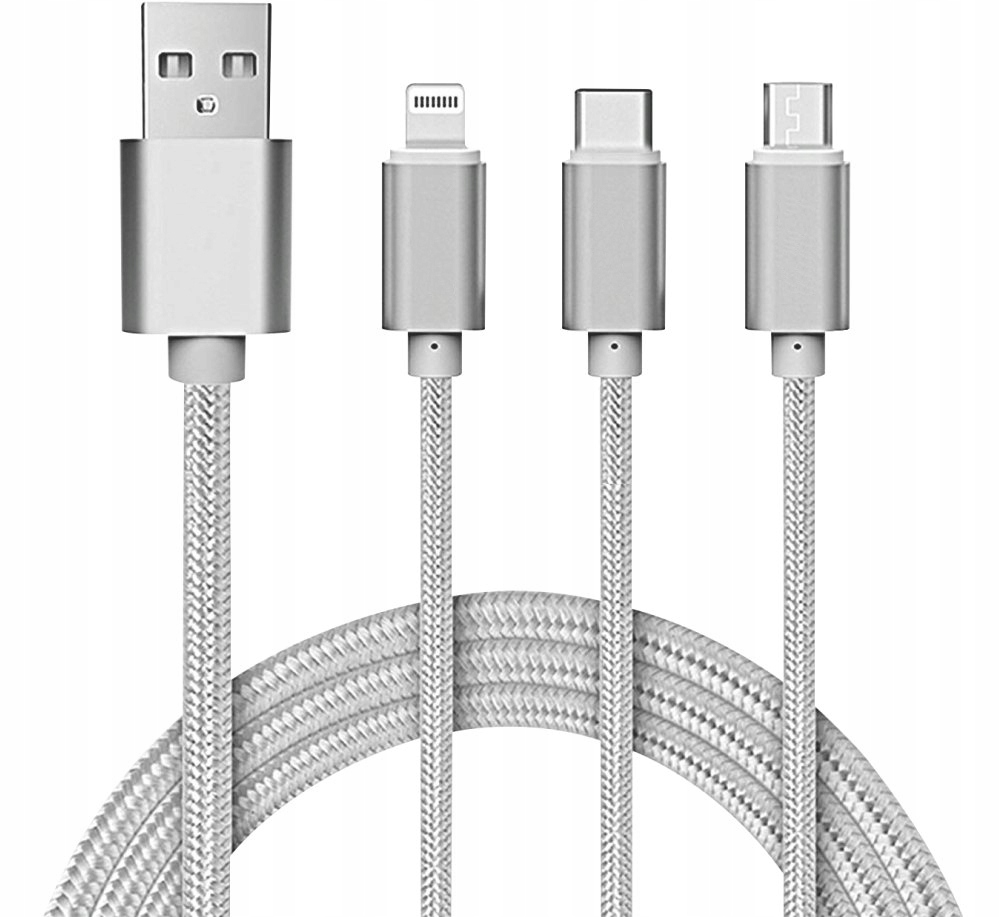 USB kábel 3v1 nylonový do microUSB  USB-C  lightning (2)