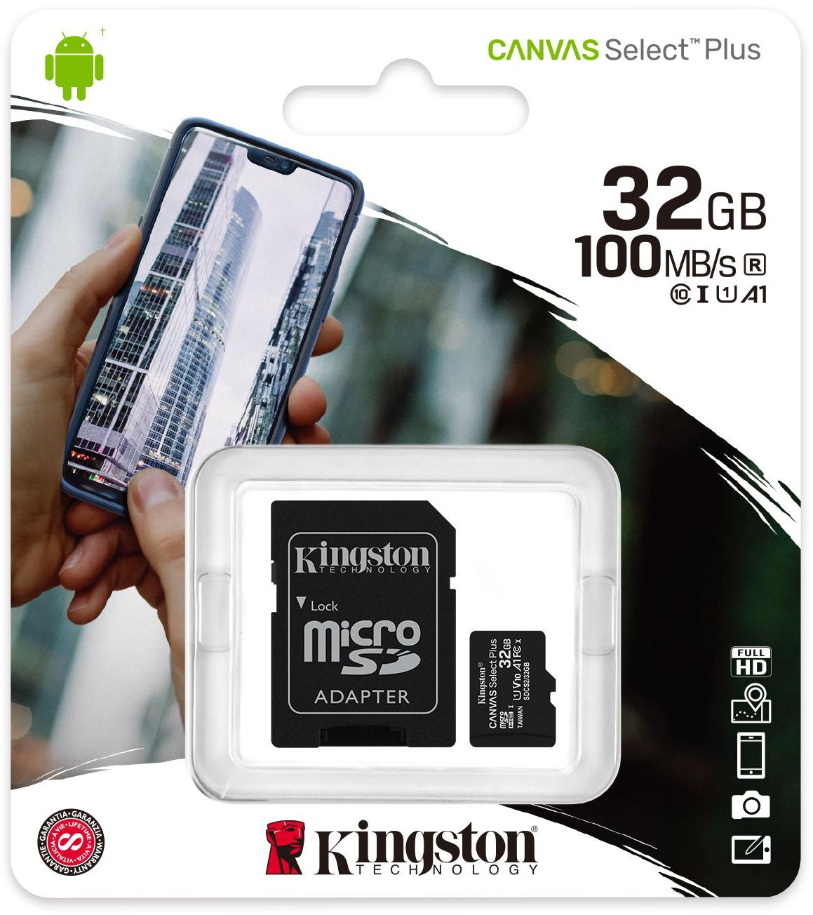 Kingston Canvas Select Plus microSDHC Class10 UHS-I 32GB + adapter (1)