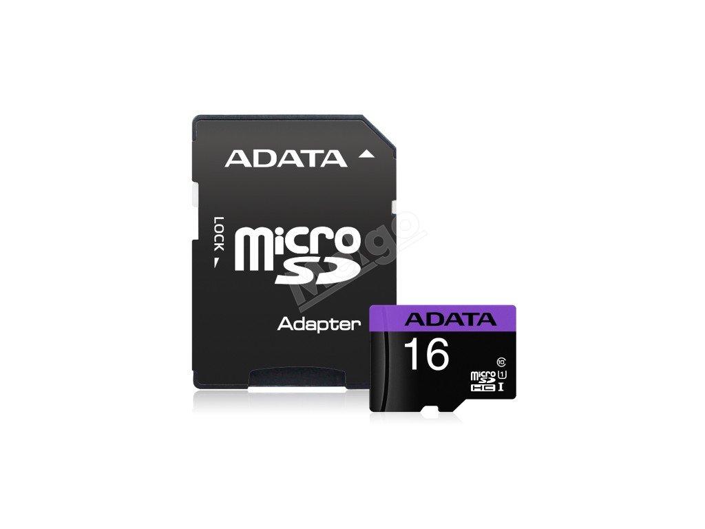 Pamäťová karta Adata Premier MicroSDHC 16GB Class10 UHS I + adaptér (1)