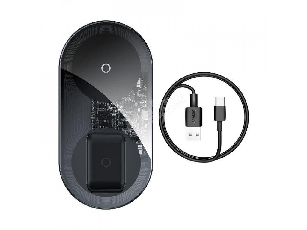 Bezdrôtová indukčná nabíjačka Qi 2v1 Simple - Baseus