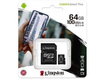 Kingston Canvas Select Plus microSDHC Class10 UHS I 64GB + adapter (1)