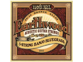 Ernie Ball Earthwood 5 - String Banjo Bluegrass Loop End 80/20 Bronze Acoustic Strings