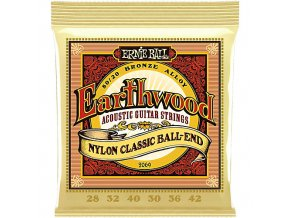 Ernie Ball Earthwood Folk Nylon, Clear & Gold Ball End, 80/20 Bronze Acoustic Guitar