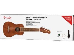 Fender Seaside Soprano Ukulele Pack, Walnut Fingerboard, Natural 1