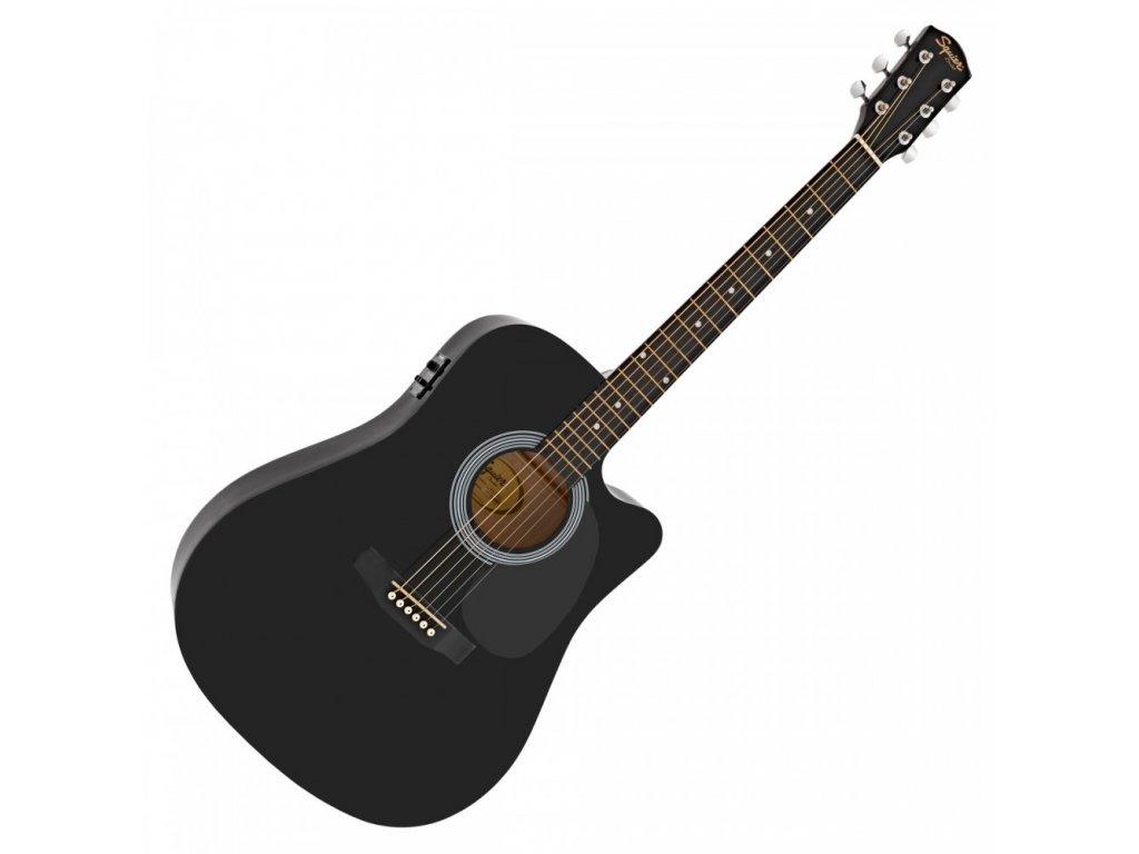 Fender SA-105CE, Dreadnought Cutaway, Black